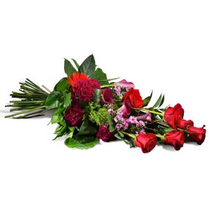Horizontal bouquet in red shades
