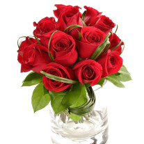 12 Stems Roses with Vase