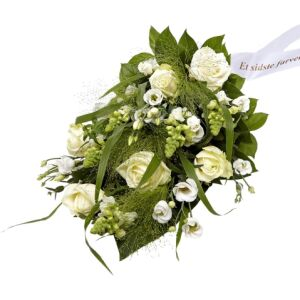 Funeral spray Florist's Choice with ribbon