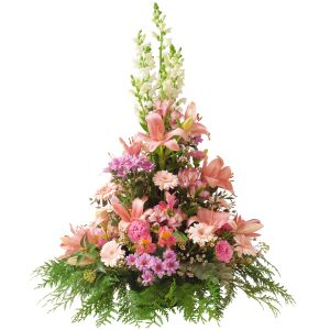 Cone shape funeral arrangement